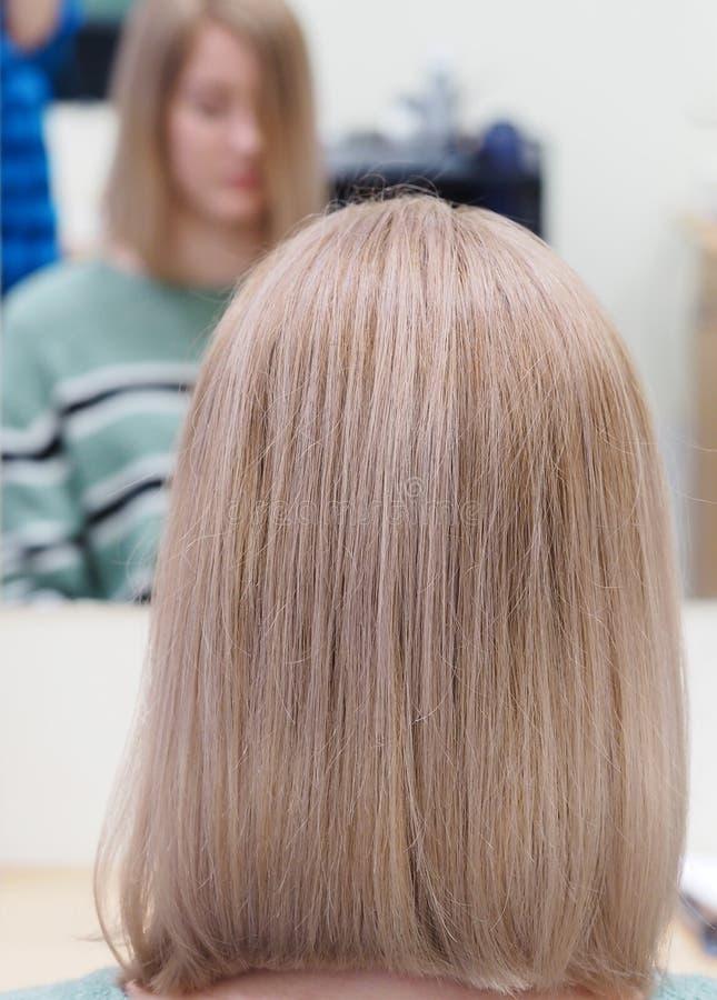 Pastelowy tonowanie długie włosy Długa blondynka farbujący włosy zdjęcie stock