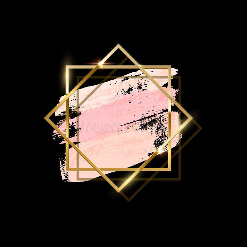 Pastelowych menchii muśnięcia uderzenia z dwa pokrywa się złotymi kwadrat ramami odizolowywać na czarnym tle spokojnie redaguje p ilustracji