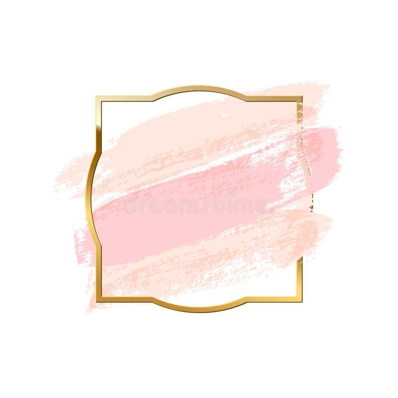 Pastelowych menchii muśnięcia uderzenia z złotą ramą odizolowywającą na białym tle spokojnie redaguje projekt elementów wektora ilustracja wektor