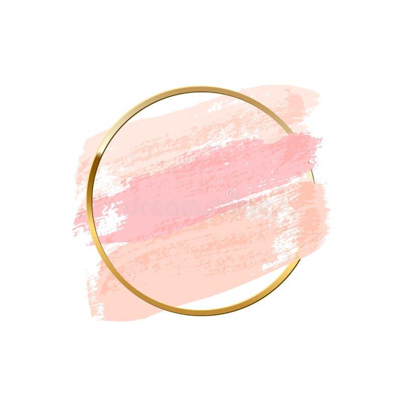 Pastelowych menchii muśnięcia uderzenia z złotym pierścionkiem odizolowywającym na białym tle spokojnie redaguje projekt elementó royalty ilustracja