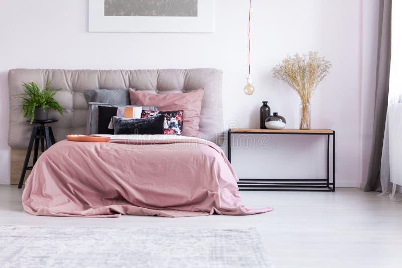Pastelowych menchii sypialnia z rośliną zdjęcie royalty free
