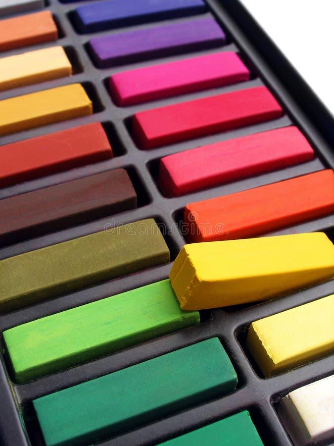 Pastels coloridos do artista fotografia de stock royalty free