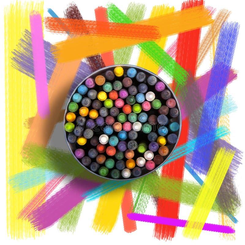 Pastels, crayons et fond balayé photographie stock