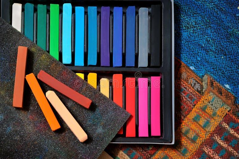 Pastels d'art de couleur photographie stock libre de droits