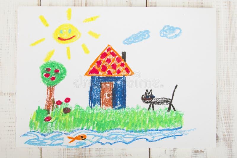 Pastels d'huile de dessin photo libre de droits