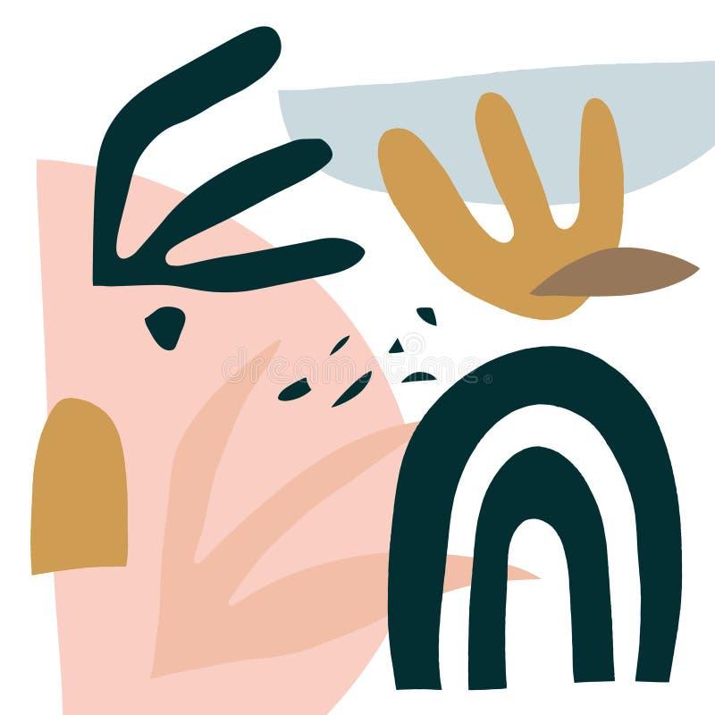 Pastelu deseniowy skład z kwiecistymi kształtami, liniami, punktami i kropkami, Kolażu projekta elementy Ręka rysujący narzuty tł ilustracja wektor