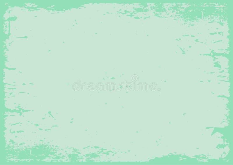 Pastelu zielony grunge textured tło z granicą ilustracja wektor