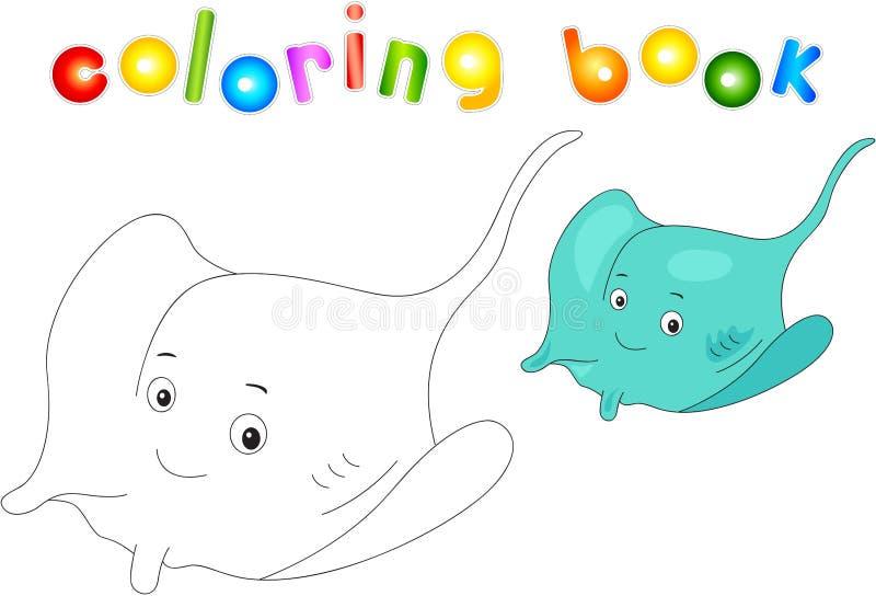 Pastenague électrique de bande dessinée drôle et amicale Livre de coloration illustration de vecteur