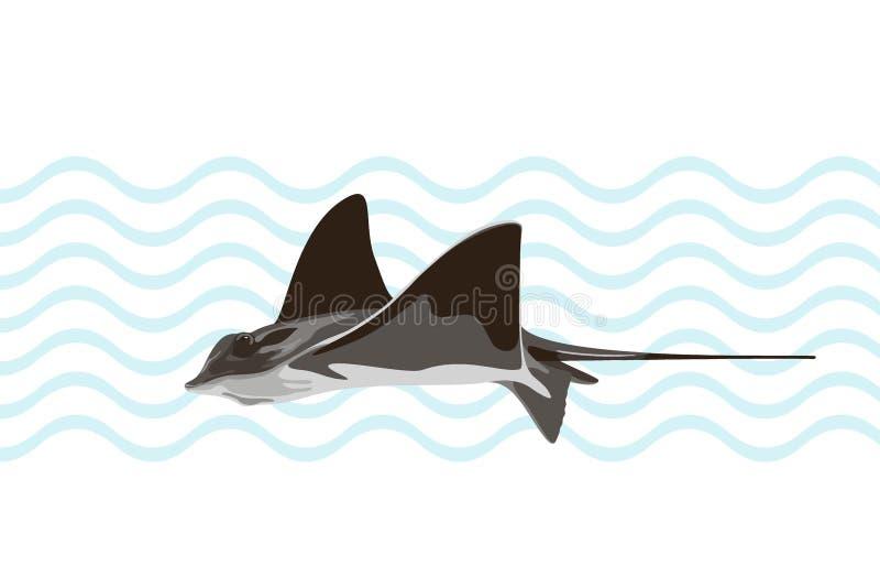 Pastenague commune de natation sur le fond abstrait Illustration de vecteur illustration de vecteur