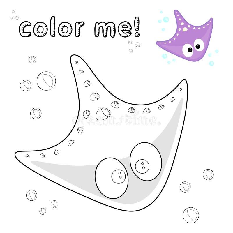 Pastenague d'ensemble coloration Personnage de dessin animé noir et blanc de pastenague Illustration de vecteur sur le fond blanc illustration stock