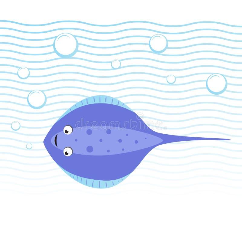 Pastenague gaie de style à la mode de bande dessinée nageant sous l'eau Vagues et bulles Icône simple éducative de vecteur de gra illustration libre de droits