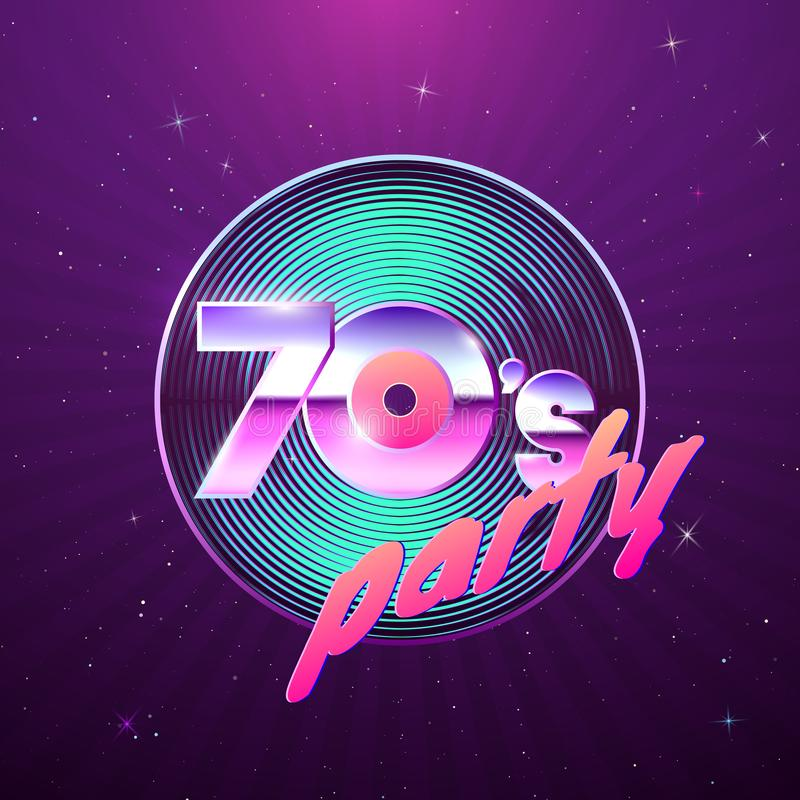 Paster template for retro disco party 70s. Vinyl record and neon colors element of 1970 style. Vintage music flyer. Vector vector illustration