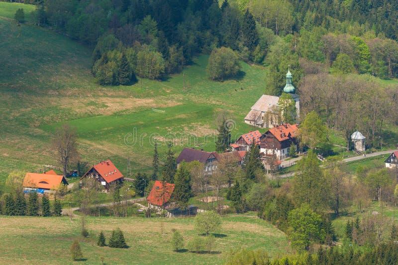 Pasterki wioska, widok od Szczeliniec góry obraz stock