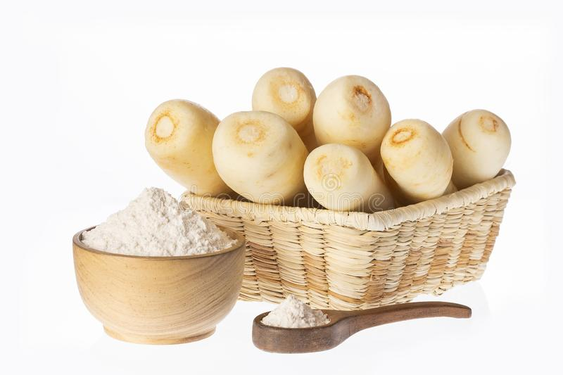 Pasternaki, selerowy creole, racacha, virraca, biała marchewka - Arracacia xanthorrhiza obrazy stock