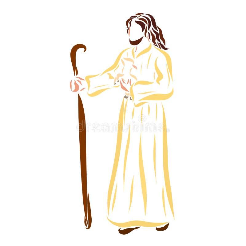 Pasterski Jezus niesie baranka w jego ręki ilustracja wektor