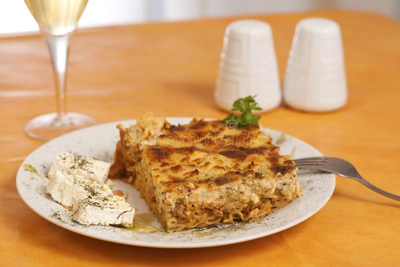 Pastitsio, alimento grego imagens de stock royalty free