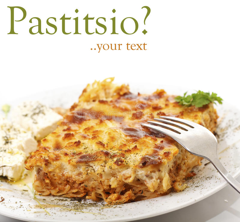 Pastitsio, alimento grego fotos de stock royalty free