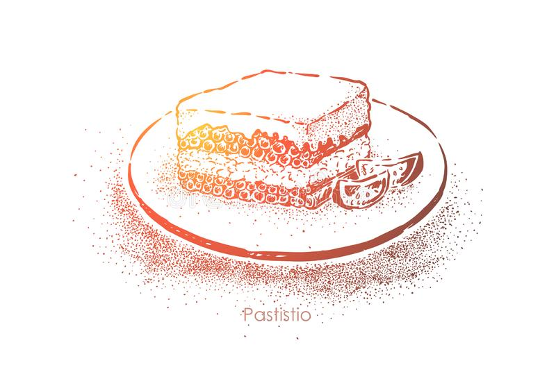 Pastitsio, greek layered dish, macaroni baked with cheese and eggs, minced meat with bechamel sauce stock illustration