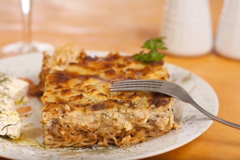 Pastitsio, nourriture grecque image libre de droits