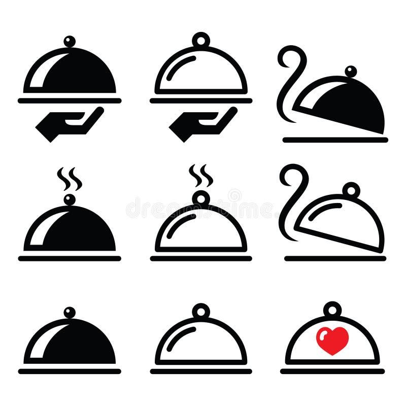 Pasto, cena, icone del vassoio dell'alimento messe royalty illustrazione gratis