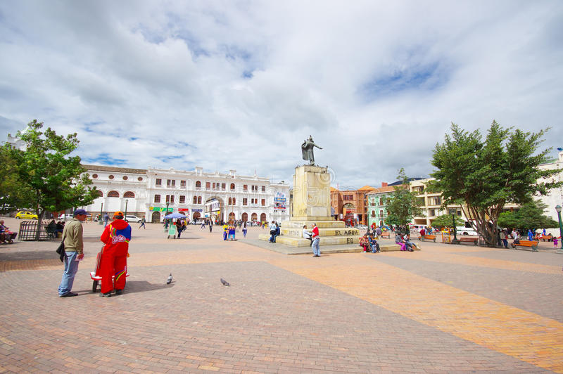 PASTO, COLOMBIA - JULY 3, 2016: pedestrians walkin on the central square where a statue of antonio narino is located stock images