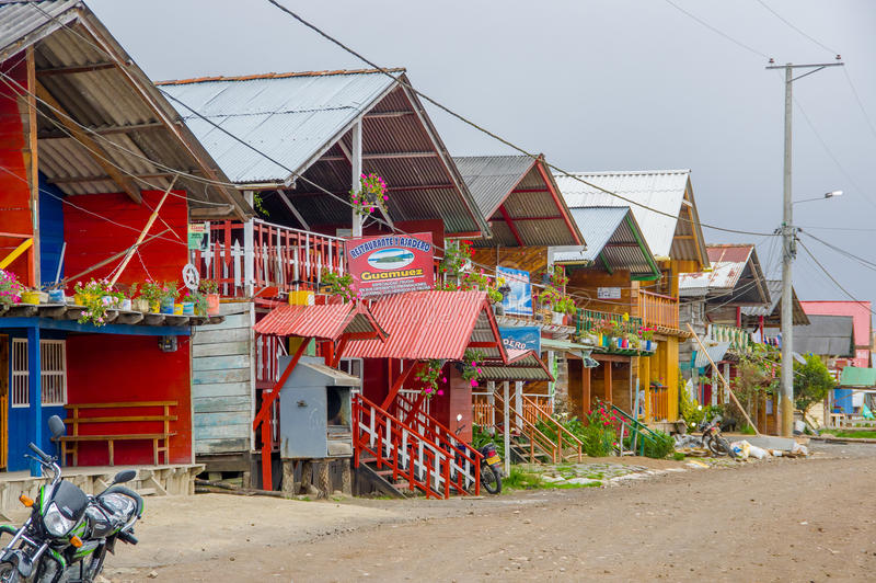 PASTO, COLOMBIA - JULY 3, 2016: some colorfull shops located on the shore of la cocha lake stock photography