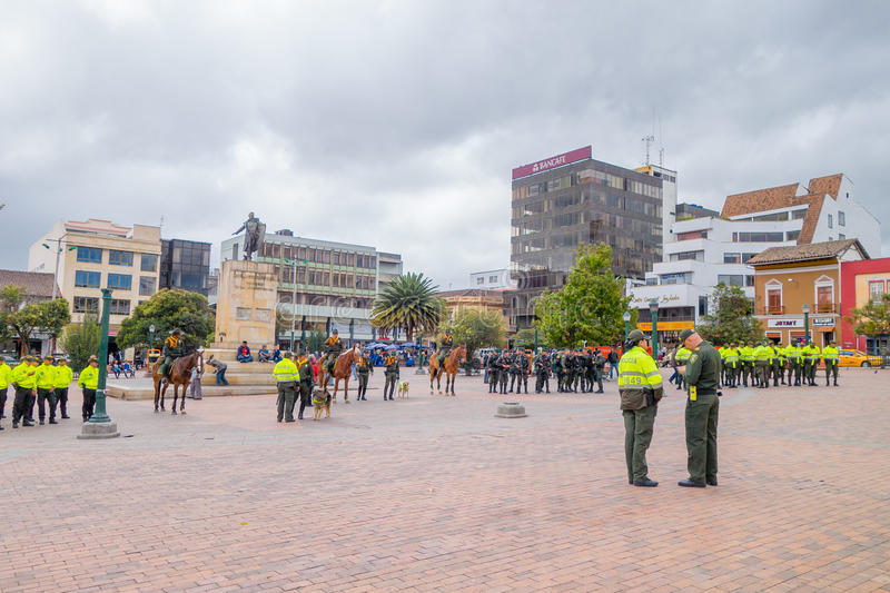PASTO, COLOMBIA - JULY 3, 2016: some policeman standing in the center square preparing an exhibition royalty free stock photos