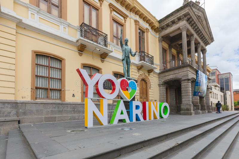 signboard of the Department of Narino in the city of Pasto Colombia stock photos