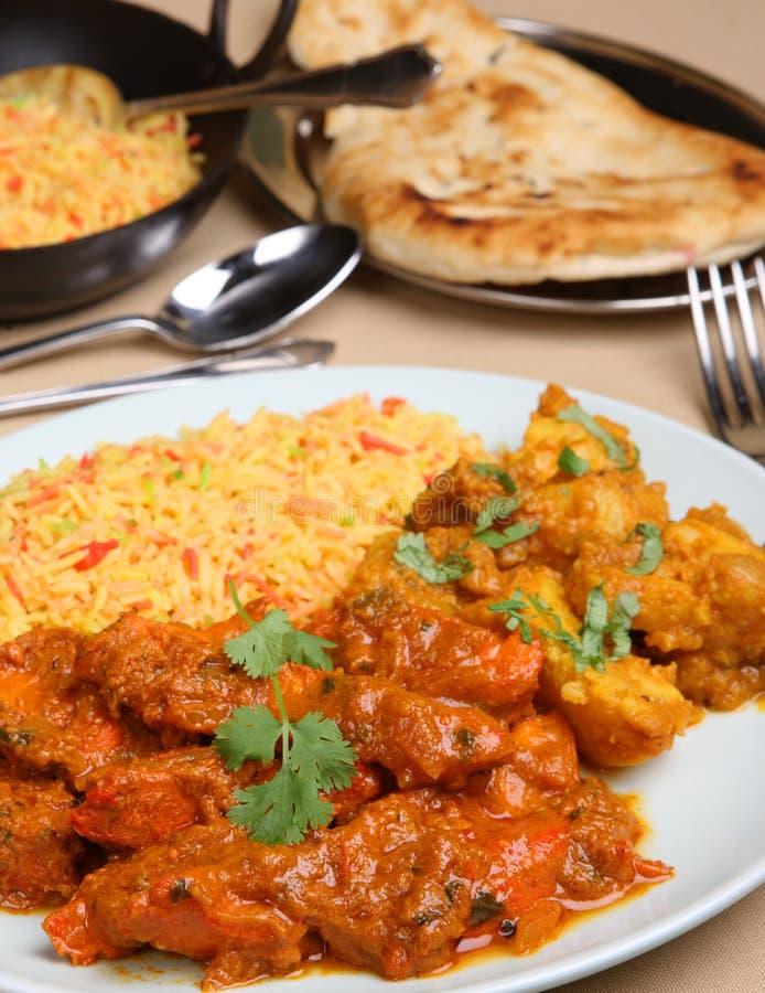 Pasto del curry di Vindaloo del pollo fotografia stock libera da diritti
