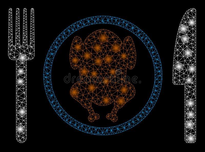 Pasto del pollo della maglia luminosa 2D con i punti luminosi illustrazione di stock