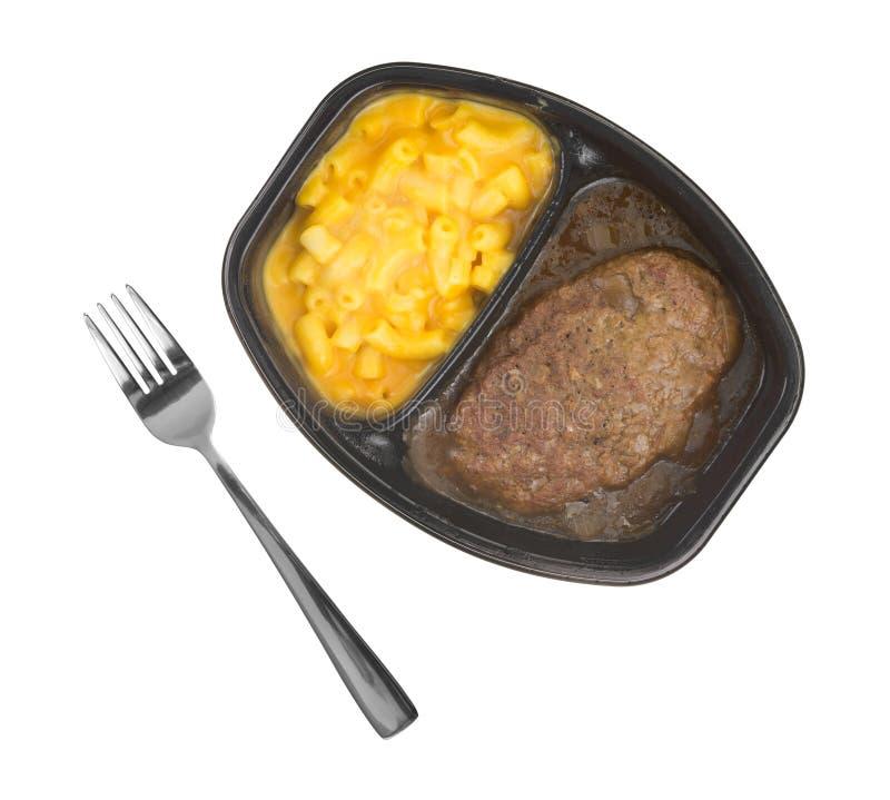Pasto dell'hamburger salisbury steak con la cena di TV del formaggio e dei maccheroni fotografie stock libere da diritti