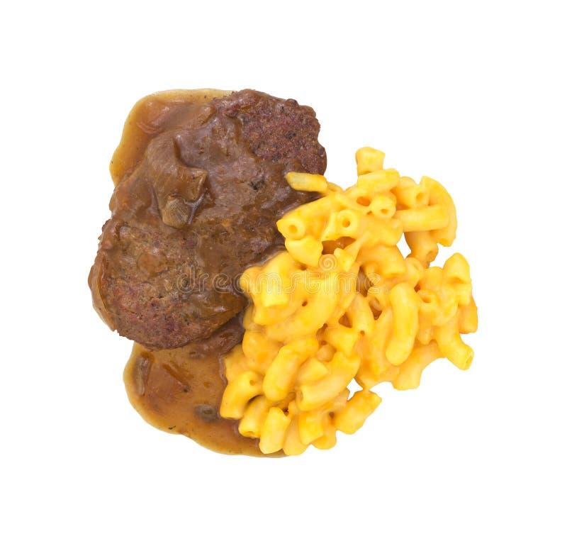 Pasto dell'hamburger salisbury steak con maccheroni e formaggio fotografie stock libere da diritti