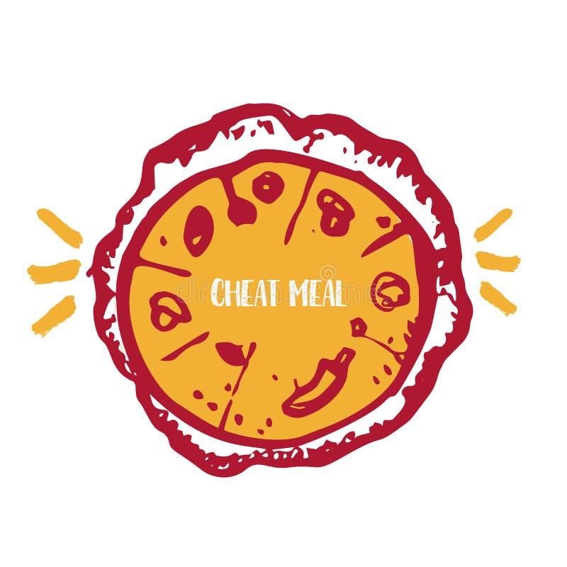 Pasto dell'imbroglione con l'etichetta disegnata a mano della pizza, distintivo Emblema per il fast food, caffè Isolato su priori illustrazione vettoriale