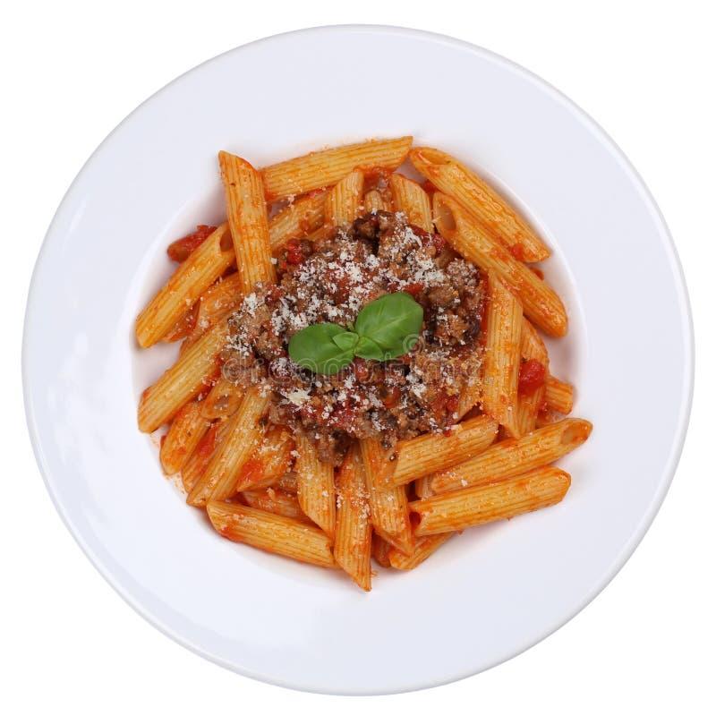 Pasto della pasta delle tagliatelle della salsa di Bolognaise o di Penne Bolognese isolato fotografia stock