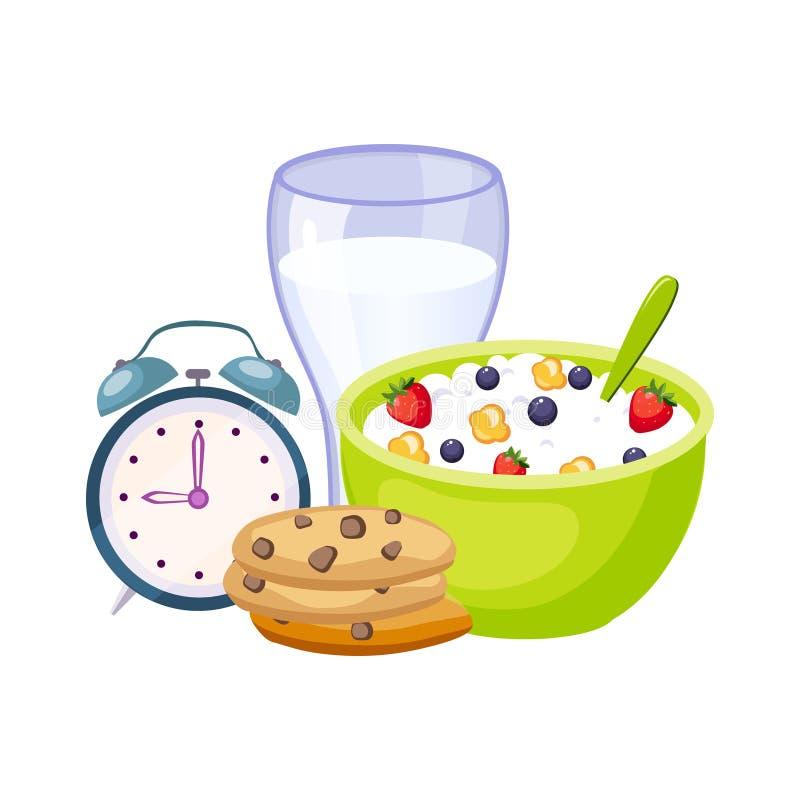 Pasto della prima colazione con latte, cereali ed orologio, insieme della scuola ed oggetti relativi di istruzione nello stile va illustrazione vettoriale