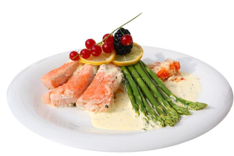 Pasto di color salmone gastronomico immagine stock