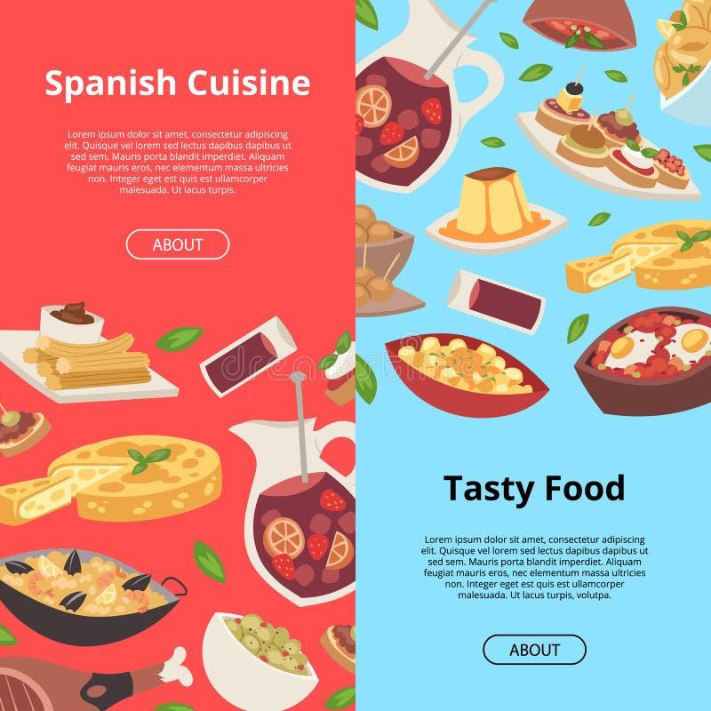 Pasto europeo tradizionale di cucina dell'alimento del modello spagnolo di vettore del pranzo della cena del menu del ristorante  illustrazione vettoriale