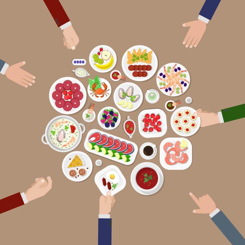 Pasto giapponese del piatto dell'alimento di progettazione piana di vettore del caffè del ristorante royalty illustrazione gratis