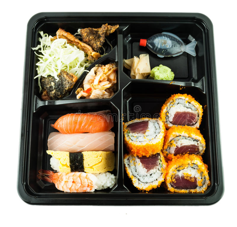 Pasto giapponese in scatola o scatola di pranzo fotografia stock libera da diritti