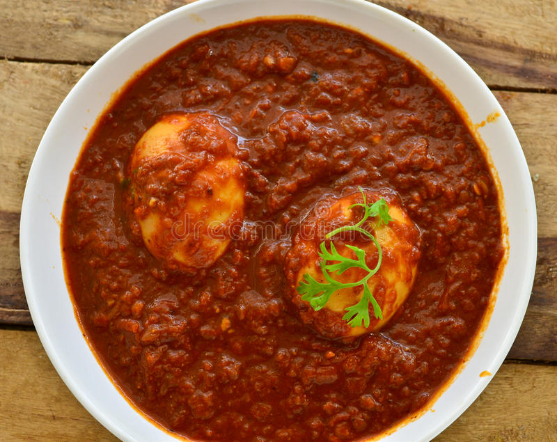 Pasto indiano con il curry dell'uovo fotografia stock libera da diritti