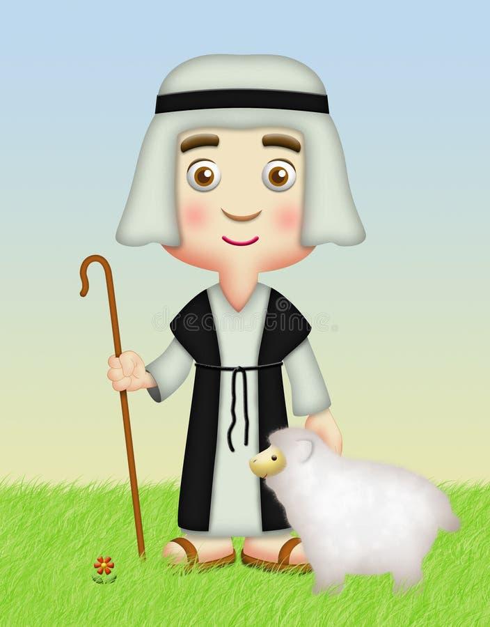 Pastor com carneiros ilustração royalty free