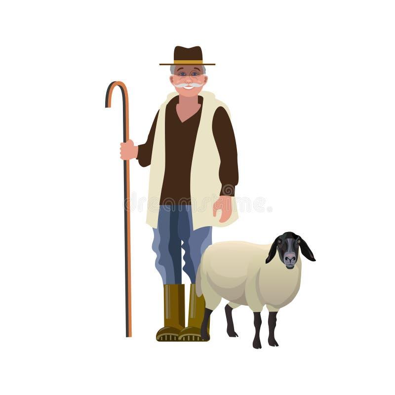 Pastor con una oveja libre illustration
