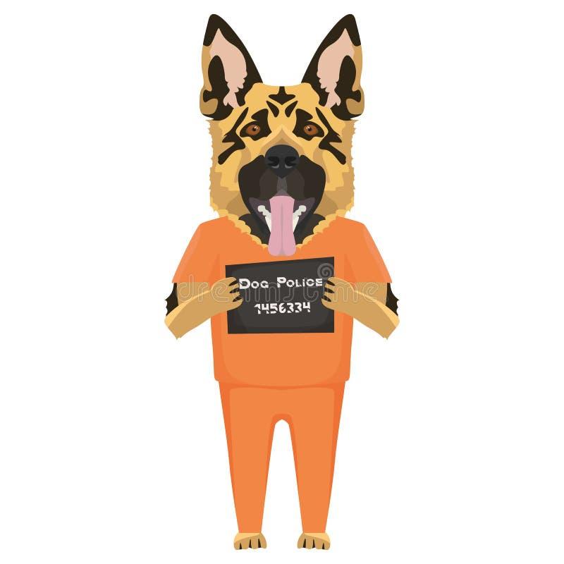 Pastor del perro de la ropa de la prisi?n del Mugshot stock de ilustración
