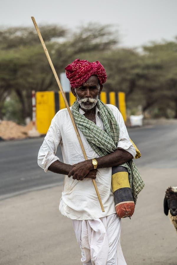 Pastor idoso de Rajasthani foto de stock