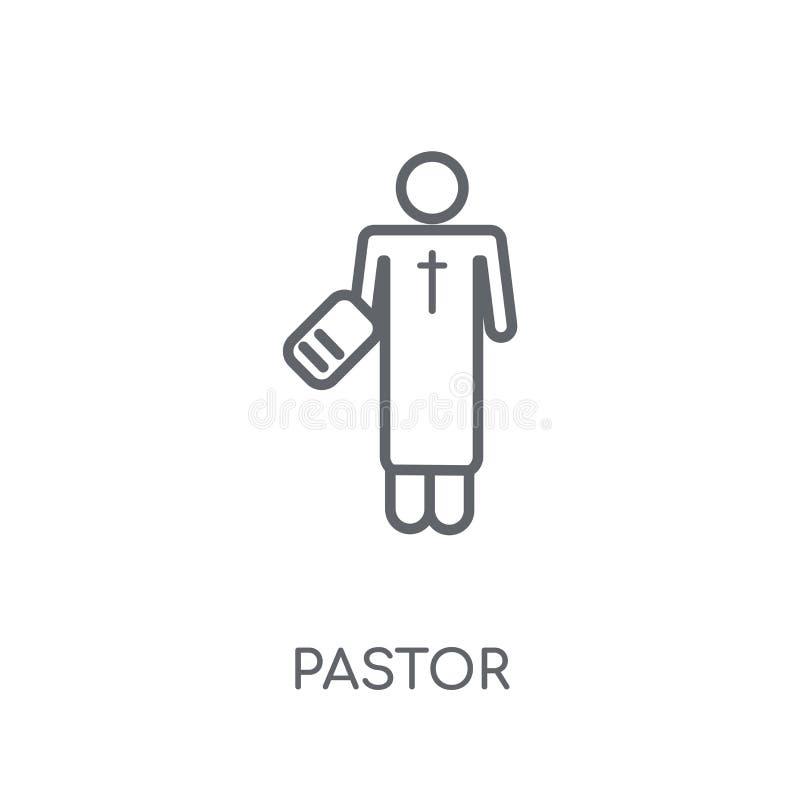 Pastor liniowa ikona Nowożytny konturu pastora logo pojęcie na bielu ilustracja wektor