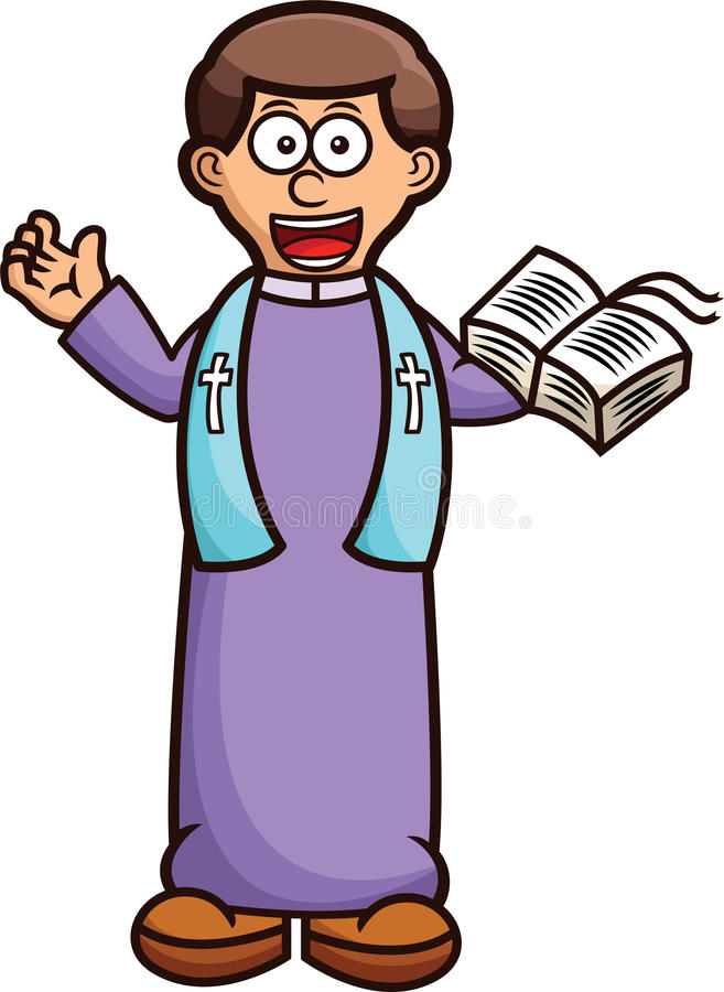 Pastor mit heilige Bibel-Karikatur lizenzfreies stockfoto