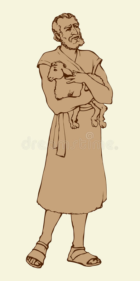 Pastor que guarda um cordeiro Desenho do vetor ilustração royalty free