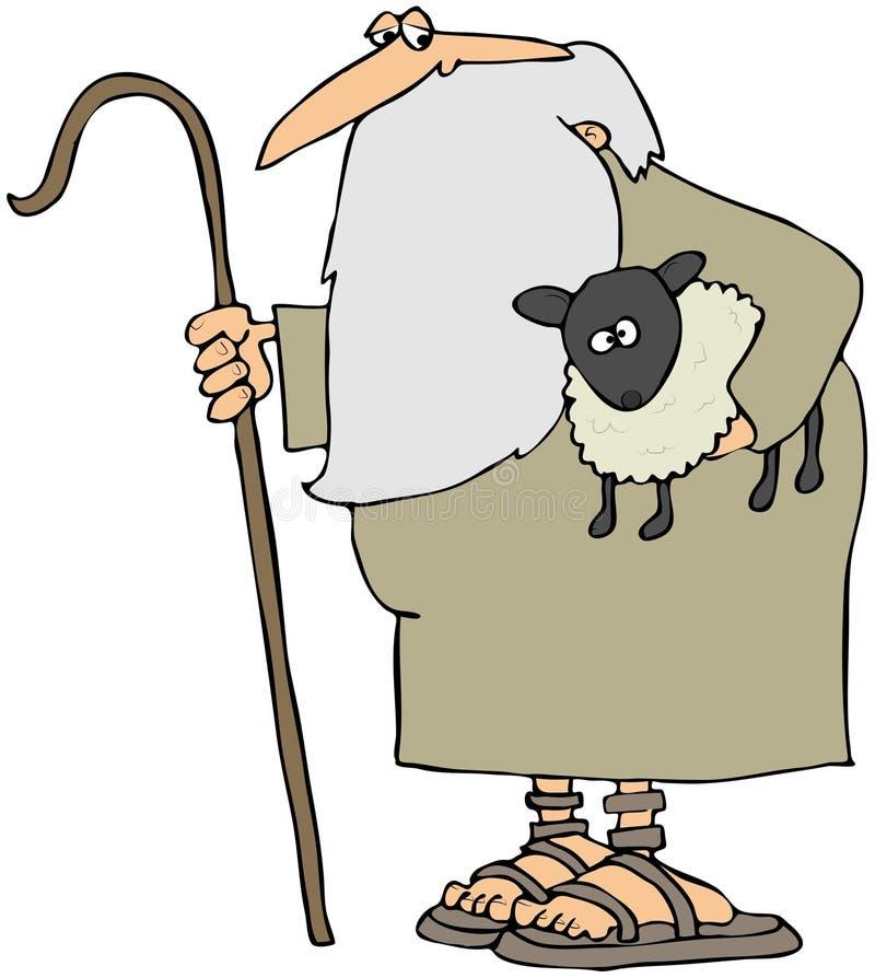 Pastor que sostiene un cordero ilustración del vector