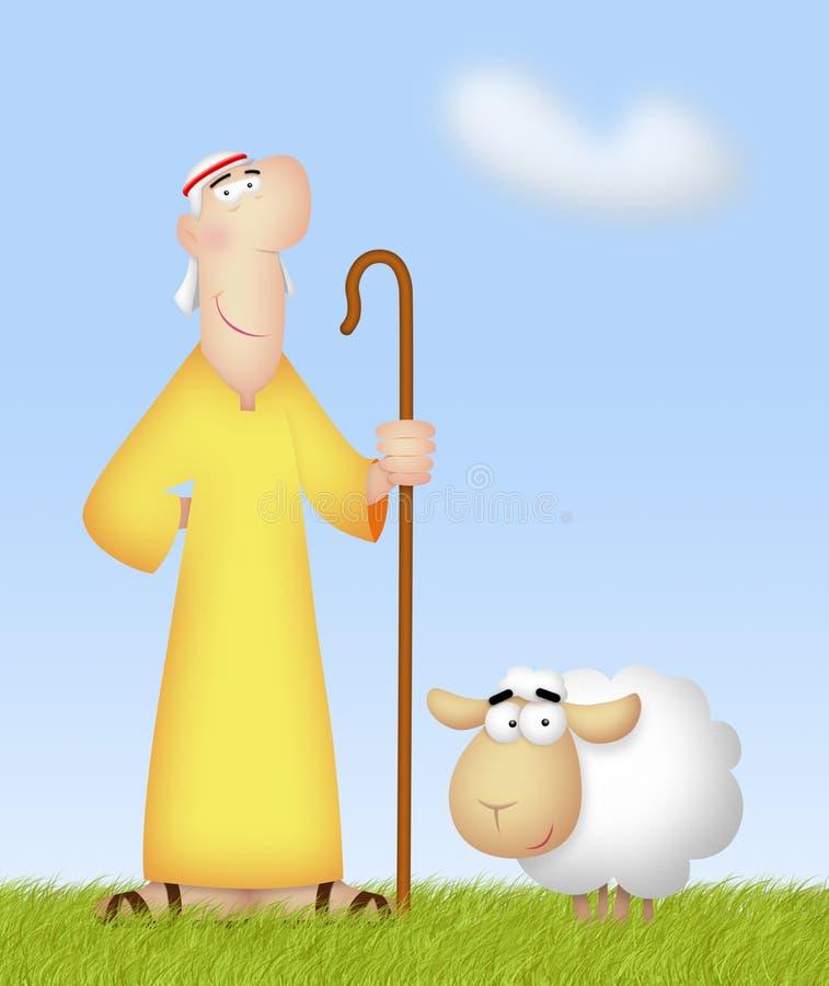 Pastor With Sheep stock de ilustración
