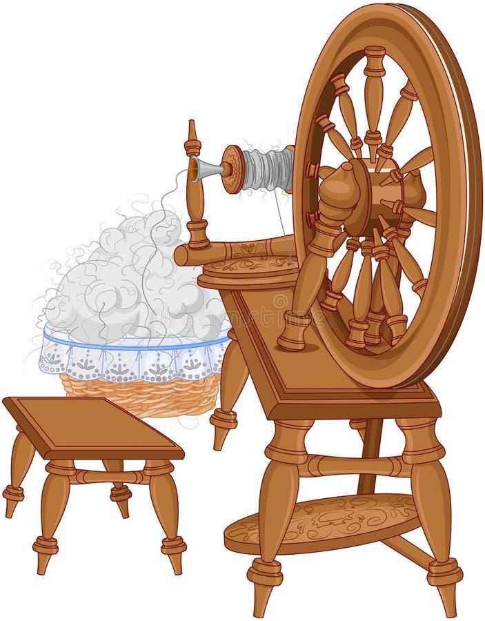 Pastor Spinning Wheel y silla stock de ilustración